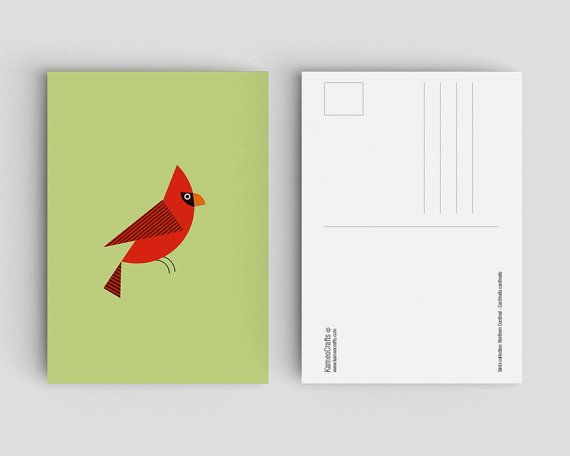 postkaart met rode kardinaal vogel van Kameocrafts op Etsy
