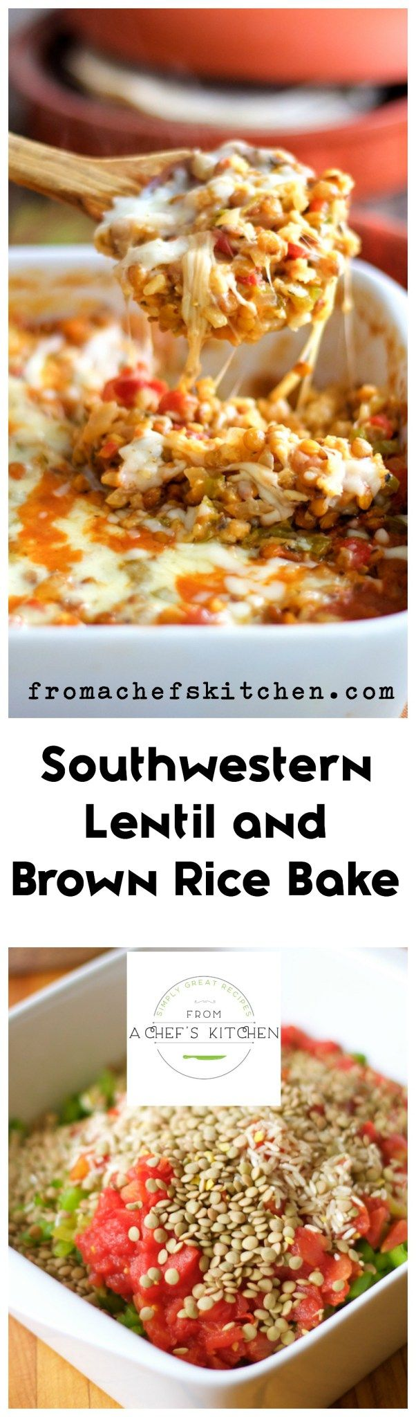 Southwestern Lentil and Brown Rice Bake is an easy, delicious one-pan meatless dinner even a carnivore will love!