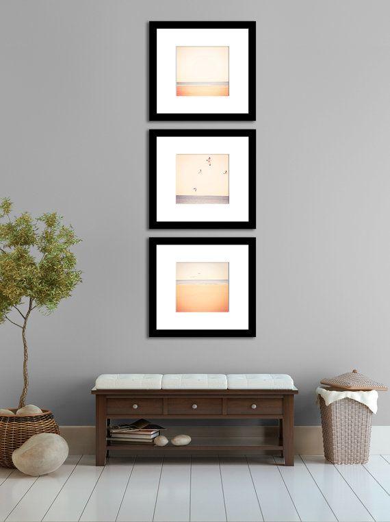 Nature Photography Neutral Minimalist Beach Home Decor Blue Triptych Cottage Decor Periwinkle Beige Peach Wall Art