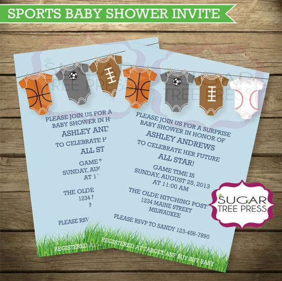Sports Baby Shower Invitation Light Blue with by SugarTreePress