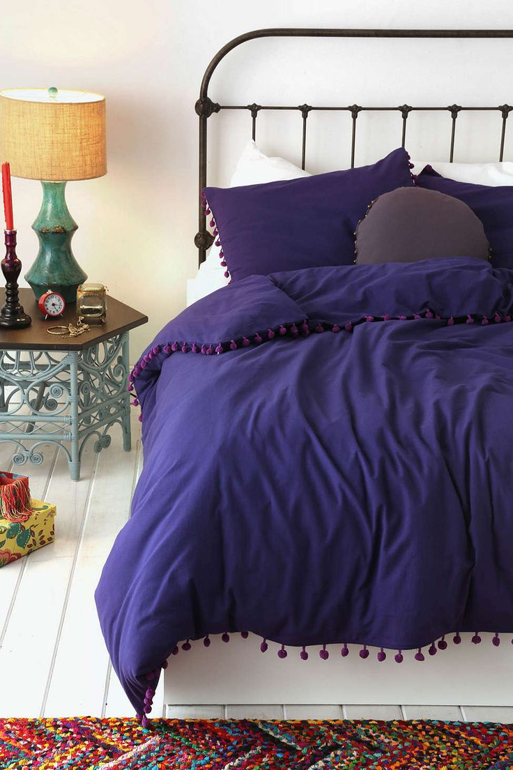 Blue and purple bed sets - Magical Thinking Pom Fringe Duvet Cover