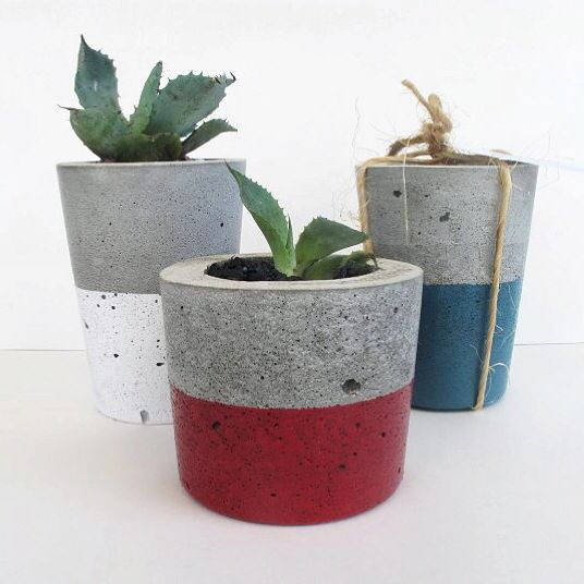 Urban decor concrete tealight candle holders & succulent planters available at Nothing But Vintage. Custom colours available. Follow us at http://www.facebook.com/NothingButVintage
