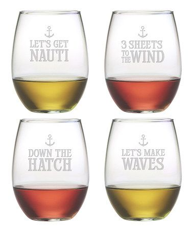 Look what I found on #zulily! 'Down the Hatch' Stemless Wineglass - Set of Four by Susquehanna Glass #zulilyfinds