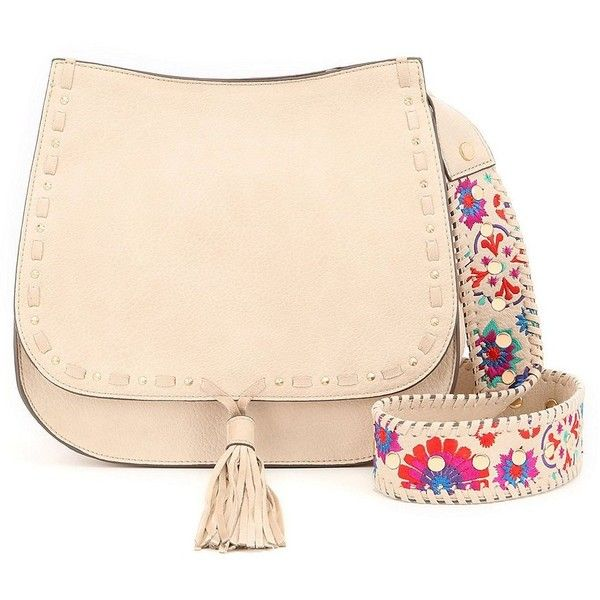 Steve Madden Selena Tasseled Saddle Bag with Floral-Embroidered Strap (£36) ❤ liked on Polyvore featuring bags, handbags, pink purse, pink bag, steve madden bags, steve madden handbags and tassel bag