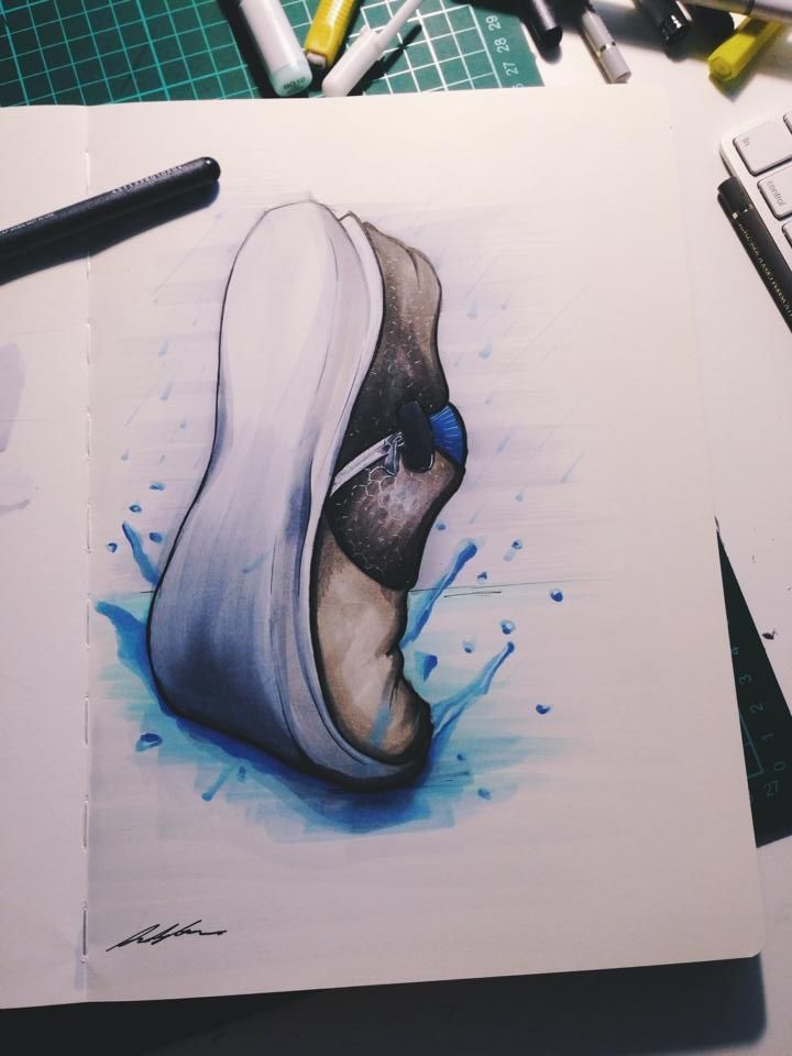 Shoe sketch by Andy Liao, Pen and marker - With a thin layer of gouache. #id #industrial #design #shoe #product #sketch
