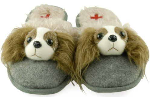 Dog Breed Slippers (small - womens size 5-6, Cavalier King Charles Spaniel) Fuzzy Nation http://www.amazon.com/dp/B00AEY24F6/ref=cm_sw_r_pi_dp_TYTQtb1T6K5CVG3K