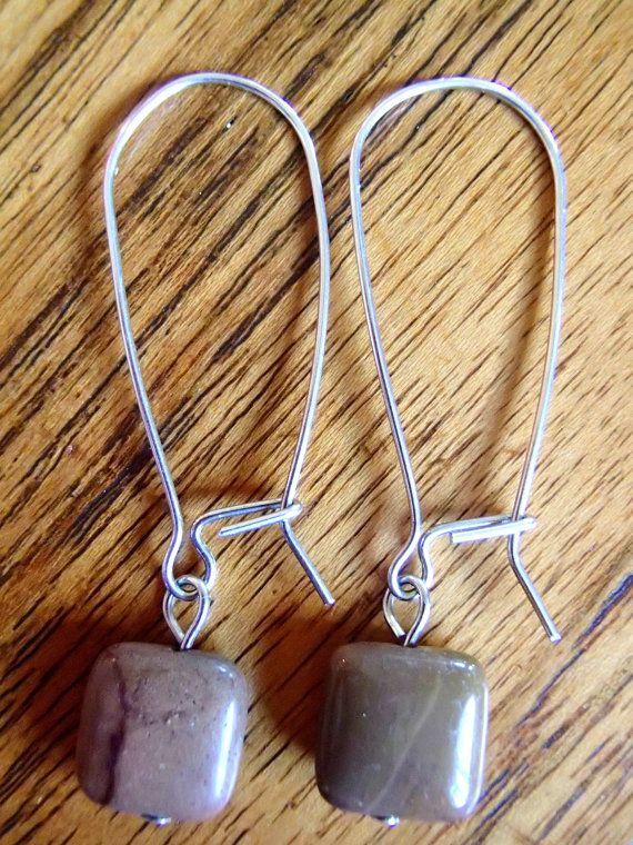 Taupe Mookaite Jasper square stone bead earrings