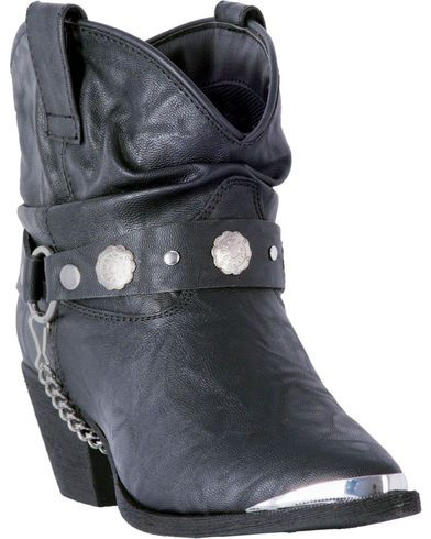 Dingo Women's Black Leather Concho Strap Slouch Ankle Boots - Pointed Toe, Black