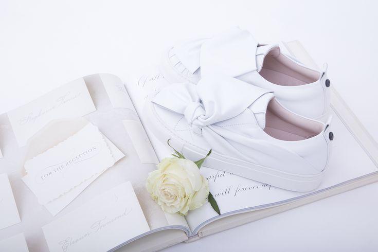 "For brides that say ""I DO"" to sneakers! 👰 NEW Josefinas Dream big White.   #sneakers #kicks #flatshoes #flat #shoes #wedding #bride #brides #white #handmade #flowers #weddingday"