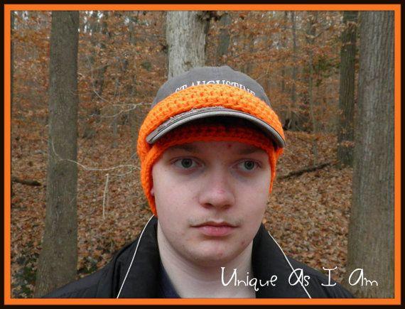 Crochet Adult Thin Cap Ear-Warmer in Blaze Orange by UniqueAsIAm