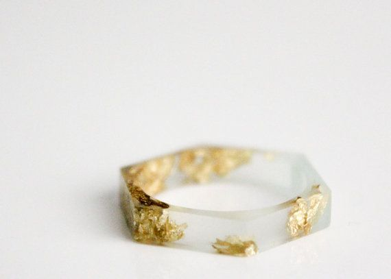 thin hexagonal eco resin ring - translucent seaglass green with gold leaf flakes, via etsy
