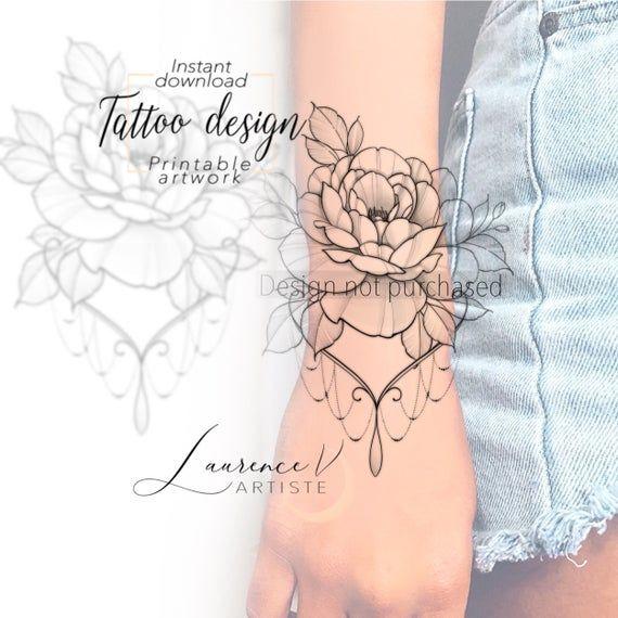 Instant Download Tattoo Design Flower Bracelet Tattoo Printable Stencil Template In 2020 Tattoo Designs Floral Tattoo Sleeve Tattoos