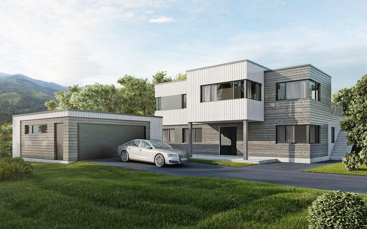 Kataloghus U- 570 funkisinspirert bolig over to plan med separat garasje!