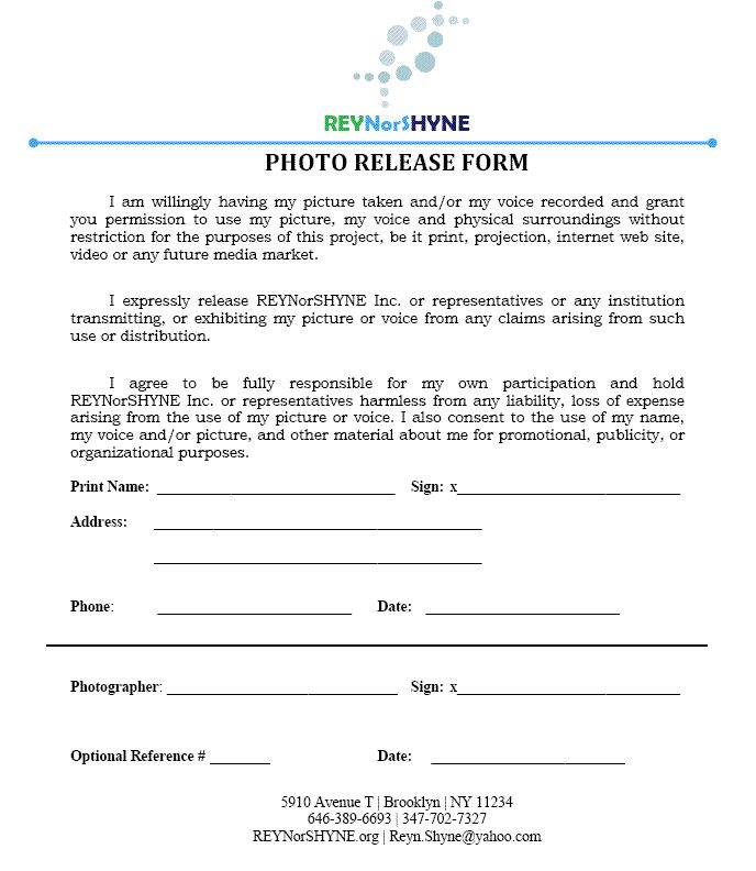 Photo Release Form Pdf #photography101pdf Photography Pinterest