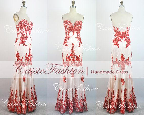 2014 Red Prom Dress Lace Applique Beading Crystal by CassieFashion, $209.00