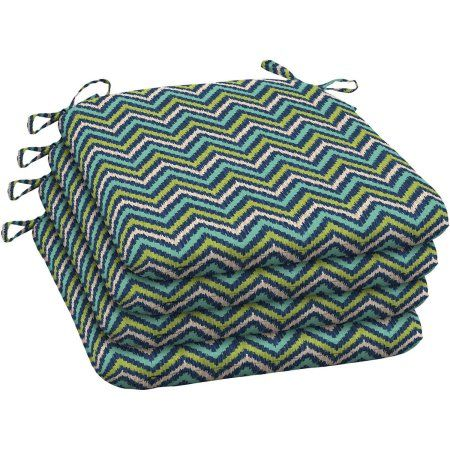 Mainstays Outdoor Patio Wrought Iron Seat Pad, Set of Four, Teal Diamond Zigzag, Multicolor