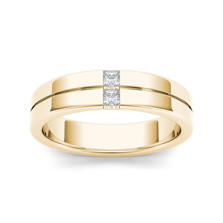 Seal your commitment to him with this yellow gold wedding band that is just his style. Emitting pristine brilliance at the center, five round diamonds are channel-set that reflect light within the gold band.