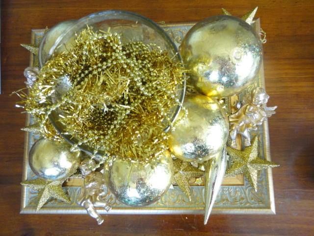 Gold frame made into tray - Christmas decoration