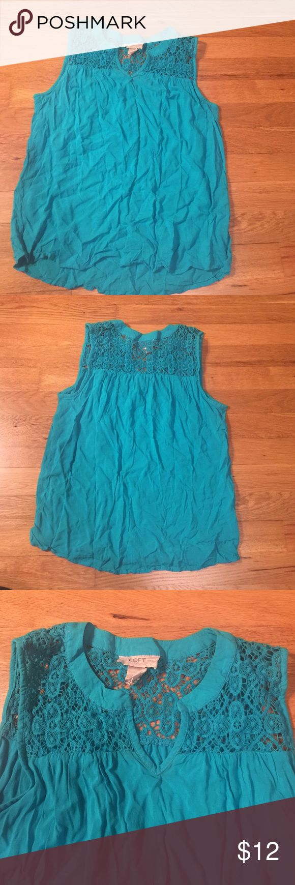 🎉🎉Loft turquoise shirt Loft turquoise shirt.  Fits xxs.  Wrinkled for being in a box.  Getting shirt steamed.  Let me know if interested. LOFT Tops
