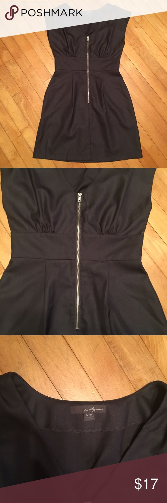 Zipper front deep navy mini dress Deep navy with slight sheen, zipper front mini dress with banded waist. Cap sleeves. Size is Medium. TwentyOne Dresses Mini