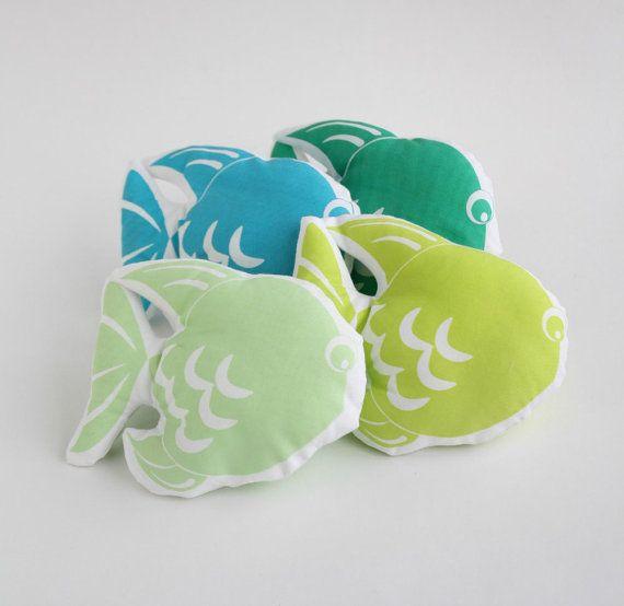 Small baby pillow   Fish small cushion for baby crib  от Netamente, $12.00