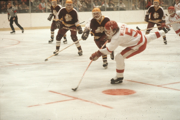 "Surely you've heard him broadcast Badger games on WPT, so here's today's ""Photo of the Day"" of defenseman Theran Welsh (1977-81). UW's all-time leading scorer on the blue line (228 points)."