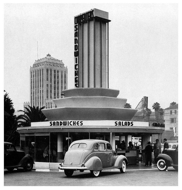Carpenter's Sandwiches drive-in at the corner of Sunset and Vine in Los Angeles, California