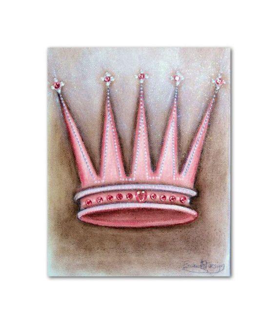 Princess Crown Wall Art Pink Brown Baby Girl Nursery