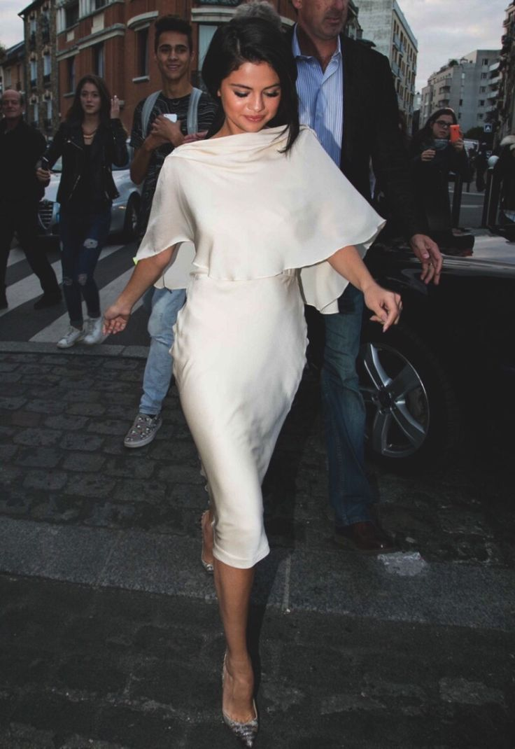 Selena Gomez with a classic white look