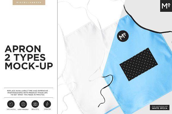 Apron 2 Types Mock-up by Mocca2Go/mesmeriseme on @creativemarket