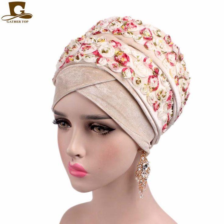 2017 New Fashion Luxury 3D rose Flower Extra Long Velvet Nigerian Turban Head Wrap Stylish Head Scarf Women Hijab Turbante #Affiliate