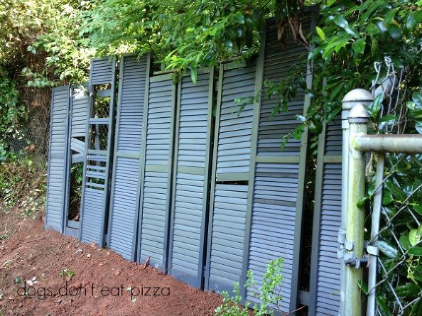 upcycle old shutters into a privacy screen, fences, outdoor living, repurposing upcycling, Big shutters connected with wood cleats are screwed together to make one big panel