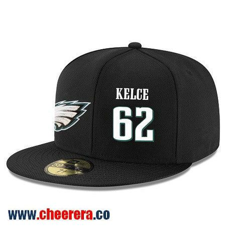 Philadelphia Eagles #62 Jason Kelce Snapback Cap NFL Player Black with White Number Hat