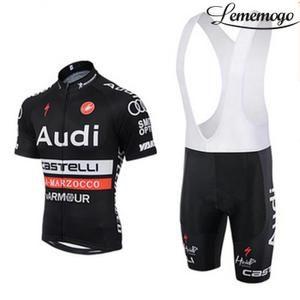 Audi Maillot de Cyclisme Noir Manches Courtes + Cuissard Selle de silicone Vélo à bretelle Ensemble de vêtement 2016