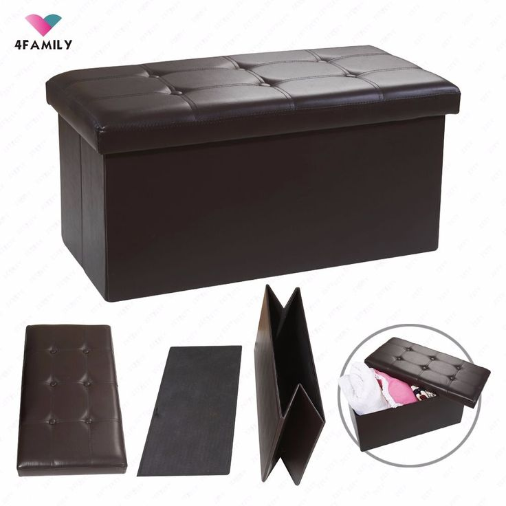 Folding Ottoman Bench Storage Pouffe Box Leather Lounge Seat Footstool Rest | eBay