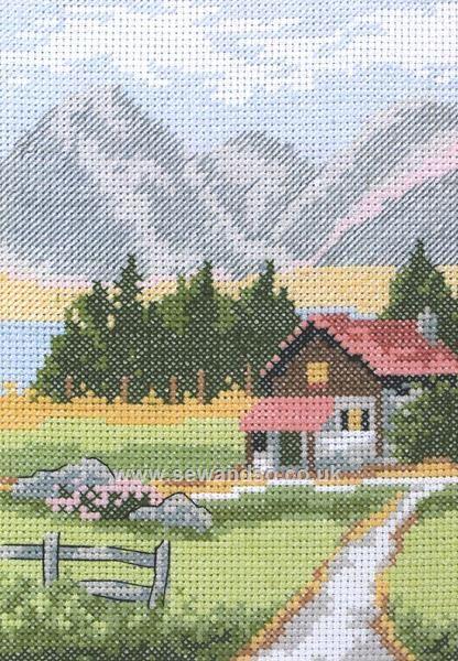Alpine Lodge Cross Stitch Kit at sewandso.co.uk.