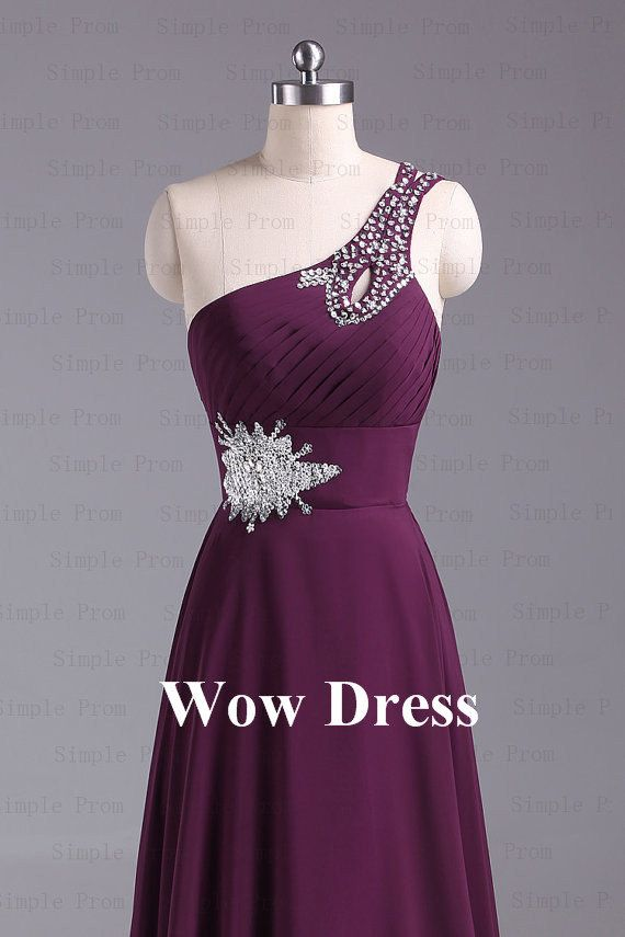 Purple Evening Dress/ Long Evening Dress/ One Shoulder