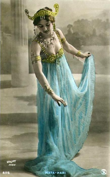 Mata Hari: 1876-1917; a Dutch exotic dancer and accused spy who was executed by firing squad in France under charges of espionage for Germany during World War I. Her name has since become synonymous with espionage, although it remains by no means clear that she was guilty of the spying for which she charged.