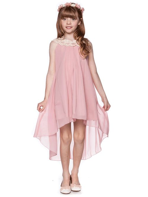 Dusty Rose Elegant Empire Waist Chiffon Dress   Junior Bridesmaid Dresses