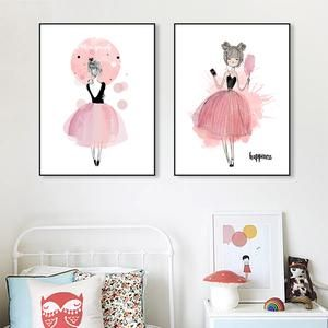 Pink Diamond & Girls Watercolour Canvas Prints Various Sizes (Frame not included)