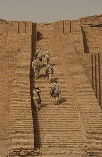 US Soldiers got to see the Ziggurat of UR in the early days of the war. This was about 2005 as the shrine was just outside the base at Tallil, Iraq. Also, it was next to the birthplace of Abraham. The stairway originally went up to a Palace that crowned the Ziggurat many years ago.