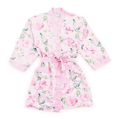 Watercolor Floral Silky Kimono Robe On Pink
