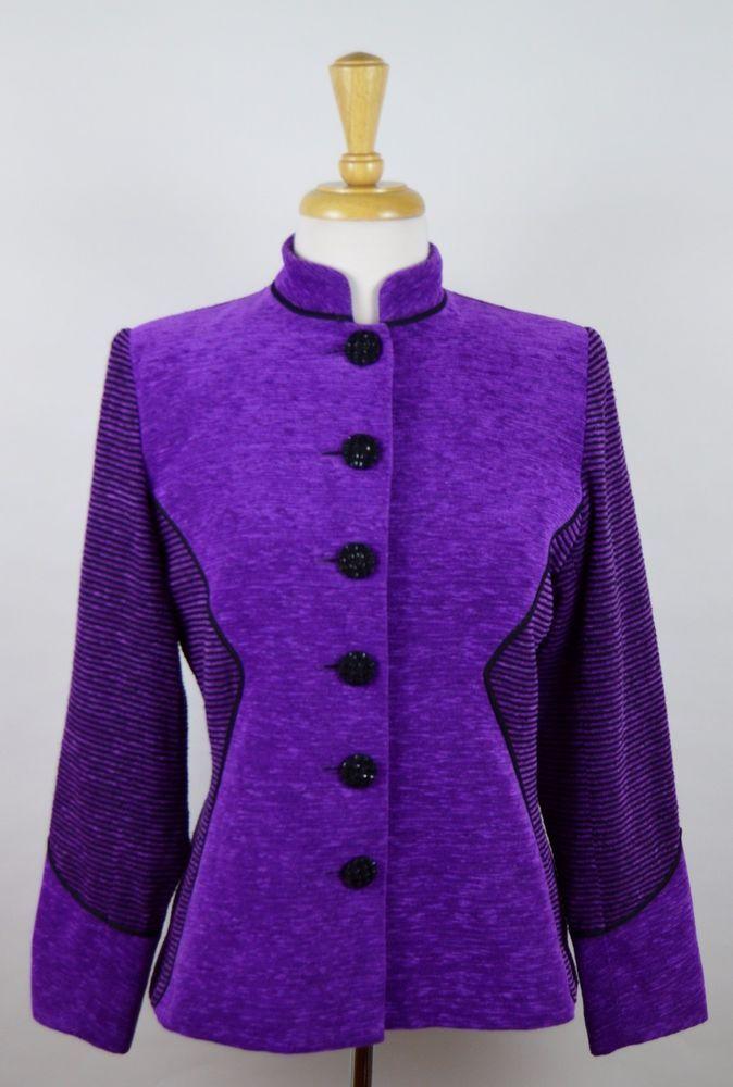 Yves Saint Laurent Encore Women's Sz 12 Purple Black Striped Rayon Blazer Jacket #YSLYvesSaintLaurent #Blazer