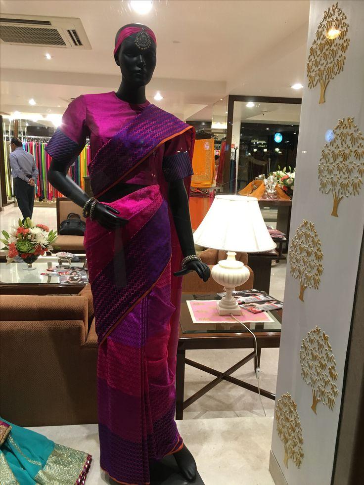 Be bold, be beautiful with this stunning purple benarasi woven saree by Vidhi Singhania.