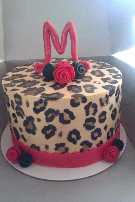 Cheetah print / Red Birthday Cake
