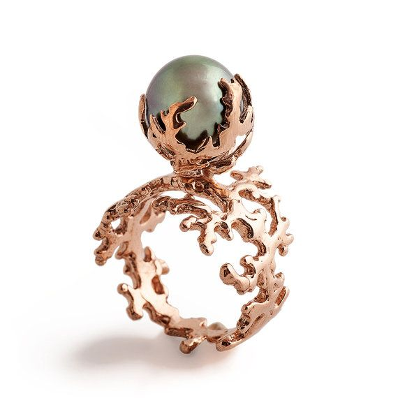 ROSE CORAL Tahitian Pearl Ring, Pearl Engagement Ring in Rose Gold by arosha