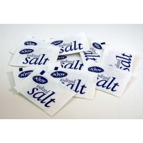 Iodized Salt (100 pack) F01-0901702-0020 - Lot of 100 mini-packets of salt. Each packet is individual size.