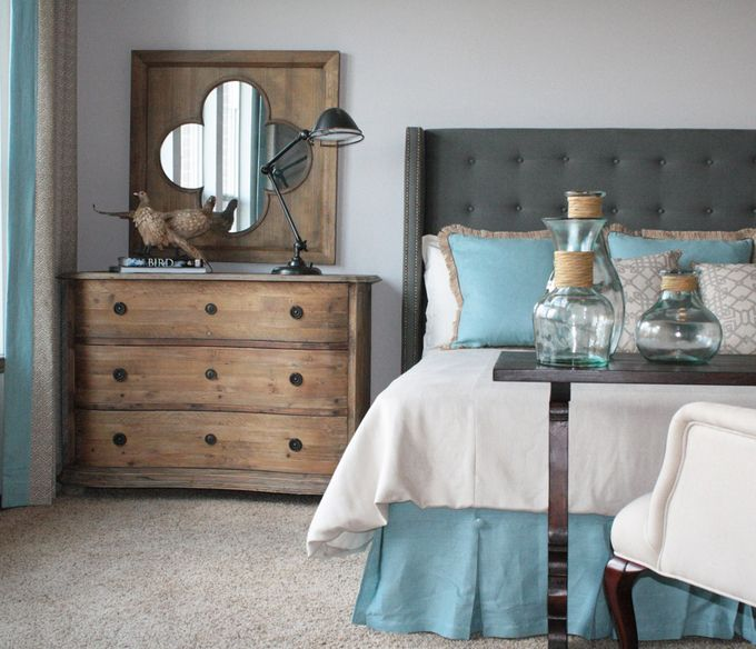 The cool greys and blues mixed with the warm (yet still soft wood tones) I love the feel of this...