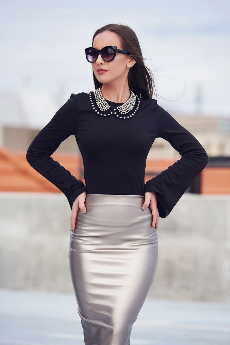 Comanda online, Bluza dama cu maneci clopot StarShinerS neagra. Articole masurate, calitate garantata!