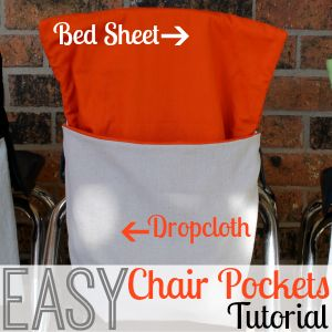 Easy Chair Pockets Tutorial Use a Bed Sheet and a Dropcoth to make Chair Pockets or Chair Bags for every student in your classroom #classroom #teaching